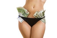 Oldest profession - Female perfect sexy body with money (dollars